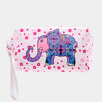 Elephant Flower Print Zipper Pouch Bag