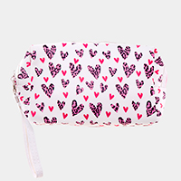 Heart Pattern Print Zipper Pouch Bag