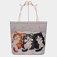 Triple Cute Cats Print Tote Bag
