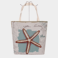 Starfish Print Tote Bag