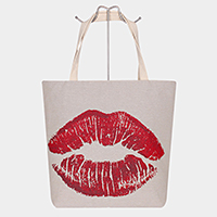 Red Lip Print Tote Bag