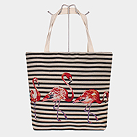 Flamingo Print Tote Bag
