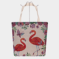 Flamingo Butterfly Print Tote Bag