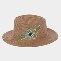 Embroidery Feather Straw Sun Hat