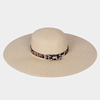 Animal Print Belt Trim Straw Floppy Sun Hat