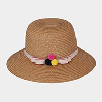 Triple Tiny Pom Pom Bow Trim Straw Sun Hat