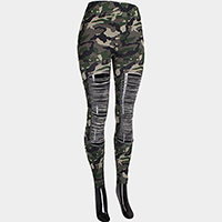 Comfy Camouflage Destroyed Leggings
