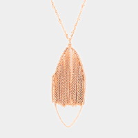 Metal Chain Fringe Oval Hoop Pendant Long Necklace