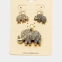 Antique Elephant Magnetic Pendant Set