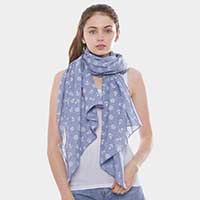 Anchor Ship Wheel Pattern Oblong Scarf