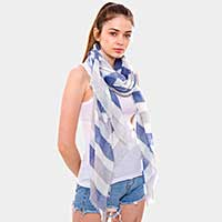 Triple Color Stripe Oblong Scarf