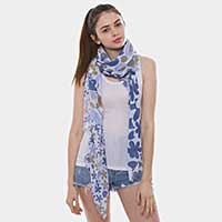 Flower Pattern Oblong Scarf