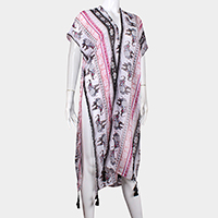 Elephant Pattern Tassel Side Slits Long Poncho