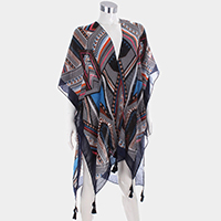 Abstract Pattern Tassel Poncho
