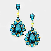 Marquise Glass Crystal Teardrop Cluster Evening Earrings