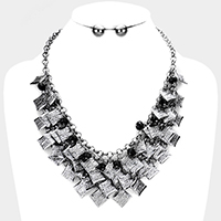 Textured Metal Square Cluster Vine Statement Necklace
