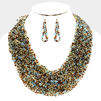 Braided Seed Beaded Statement Necklace