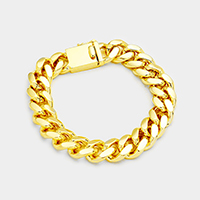 Gold Plated Square Clasp Style Curb Chain Bracelet