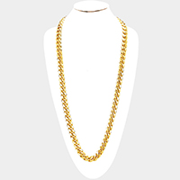 Gold Plated Square Clasp Style Curb Chain Necklace