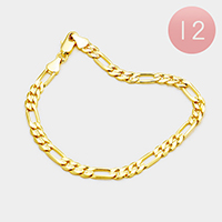 12PCS - Gold Plated Concave Figaro Chain Metal Bracelets