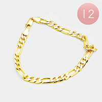 12PCS - Gold Plated Figaro Chain Metal Bracelets