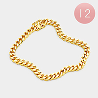 12PCS - Gold Plated Square Clasp Style Curb Chain Bracelets