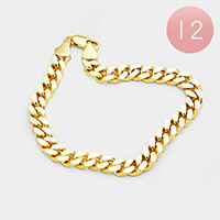 12PCS - Gold Plated Thick Curb Chain Metal Bracelets