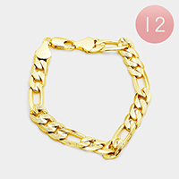 12PCS - Gold Plated Concave Textured Figaro Chain Bracelets
