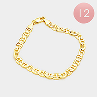 12PCS - Gold Plated Concave Mariner Chain Metal Bracelets