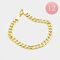 12PCS - Gold Plated Concave Textured Cuban Chain Bracelets