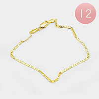 12PCS - Gold Plated Thin Mariner Chain Metal Bracelets