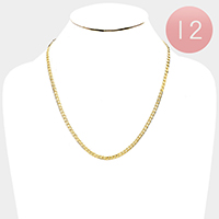 12 PCS - Gold Plated Cuban Chain Metal Necklaces