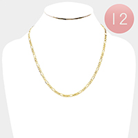 12 PCS - Gold Plated Concave Figaro Chain Metal Necklaces