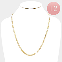 12 PCS - Gold Plated Concave Textured Figaro Chain Necklaces