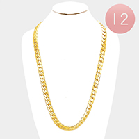 12 PCS - Gold Plated Chain Necklaces