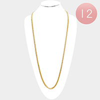 12 PCS - Gold Plated Square Clasp Style Curb Chain Necklaces