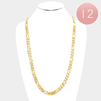 12 PCS - Gold Plated Figaro Chain Metal Necklaces