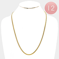 12 PCS - Gold Plated Round Cuban Chain Metal Necklaces