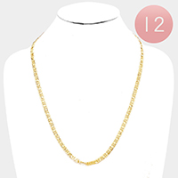 12 PCS - Gold Plated Concave Mariner Chain Metal Necklaces