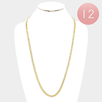 12PCS - Gold Plated Concave Cuban Chain Metal Necklaces