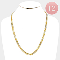 12 PCS - Gold Plated Concave Textured Cuban Chain Necklaces