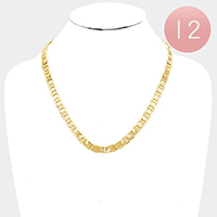 12 PCS - Gold Plated Mariner Chain Metal Necklaces