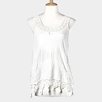 Sleeveless Lace Cover Up Top