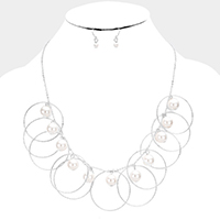 Pearl Metal Hoop Fringe Bib Necklace