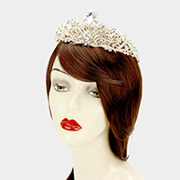 Glass Crystal Teardrop Accented Pageant Queen Tiara