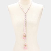 Faceted Glass Beaded Double Tassel Necklace
