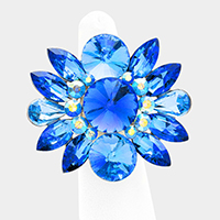 Glass Crystal Flower Stretch Ring