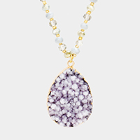 Beaded Genuine Druzy Pendant Long Necklace
