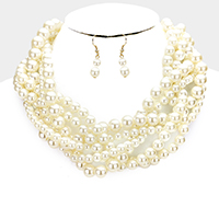 Braided Multi Strand Pearl Bib Necklace
