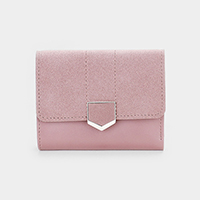 Faux Leather Mini Tri Fold Wallet